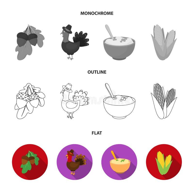 Eikels, graan arthene maak, pictogrammen van de thanksgiving day de vastgestelde inzameling van feestelijk Turkije, Canada in vla stock illustratie