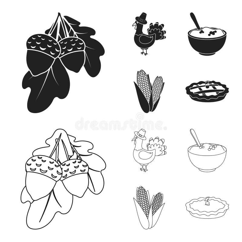 Eikels, graan arthene maak, pictogrammen van de thanksgiving day de vastgestelde inzameling van feestelijk Turkije, Canada in zwa stock illustratie