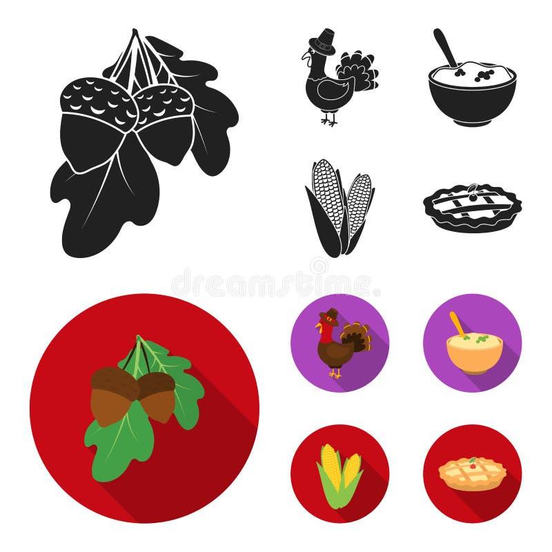 Eikels, graan arthene maak, pictogrammen van de thanksgiving day de vastgestelde inzameling van feestelijk Turkije, Canada in zwa vector illustratie