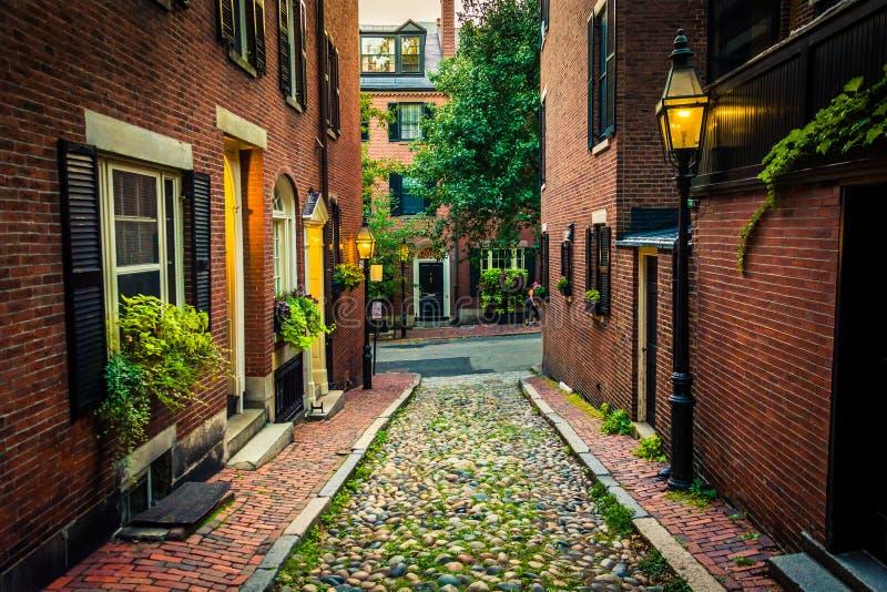 Eikelstraat, in Beacon Hill, Boston, Massachusetts stock afbeeldingen