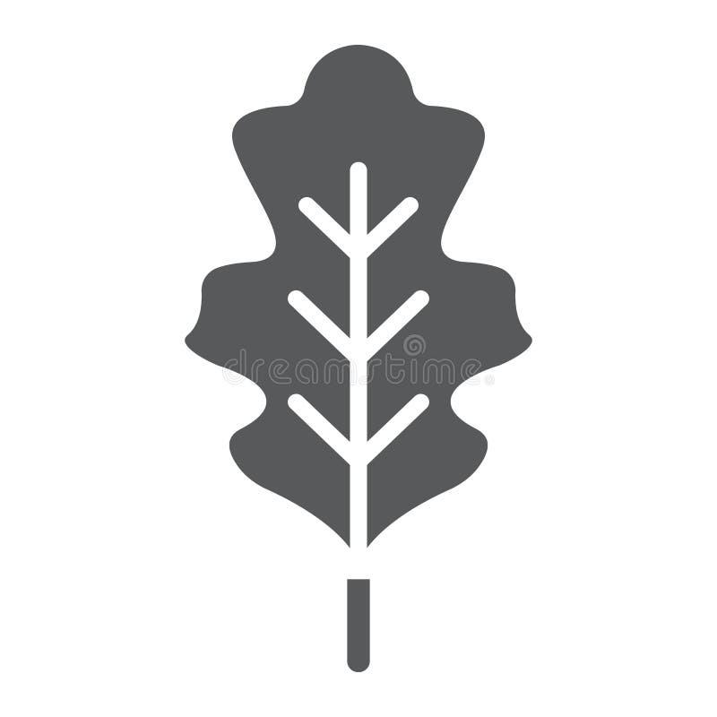 Eiken blad glyph pictogram, aard en plantkunde, gebladerteteken, vectorgrafiek, een stevig patroon op een witte achtergrond royalty-vrije illustratie