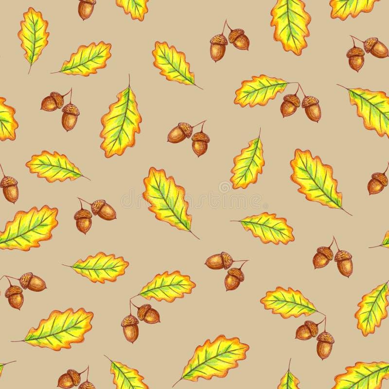 Eiken bladeren en noten stock illustratie