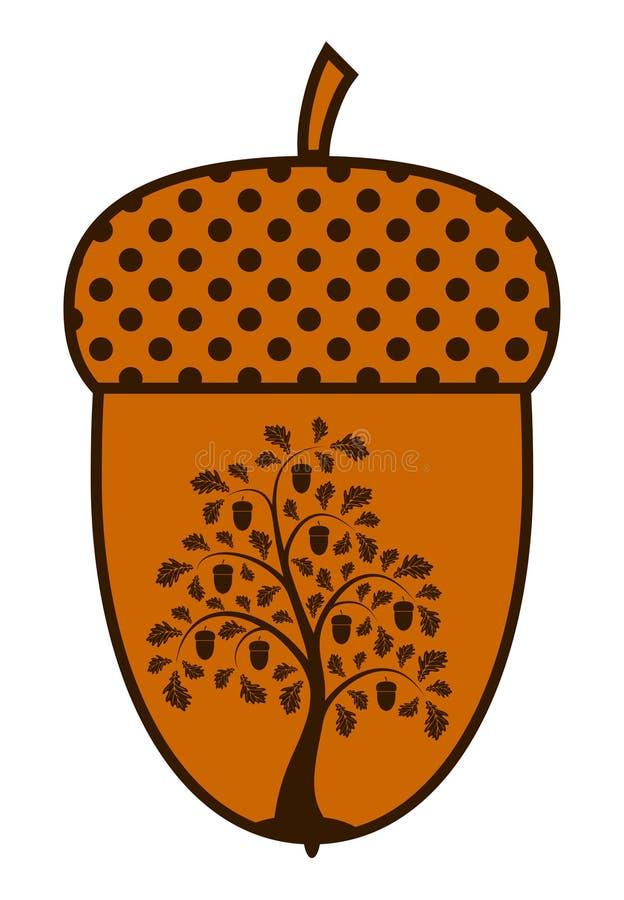 Eiken boom in eikel vector illustratie