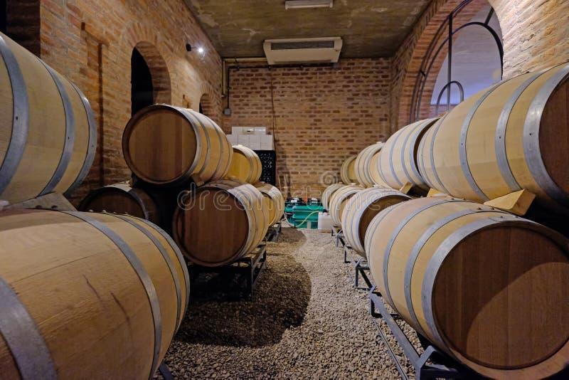 Eiken die wijnvatten in de kelder van een Malbec wijnmakerijfabriek in San Juan, Argentinië, Zuid-Amerika, ook in Mendoza wordt g stock foto's