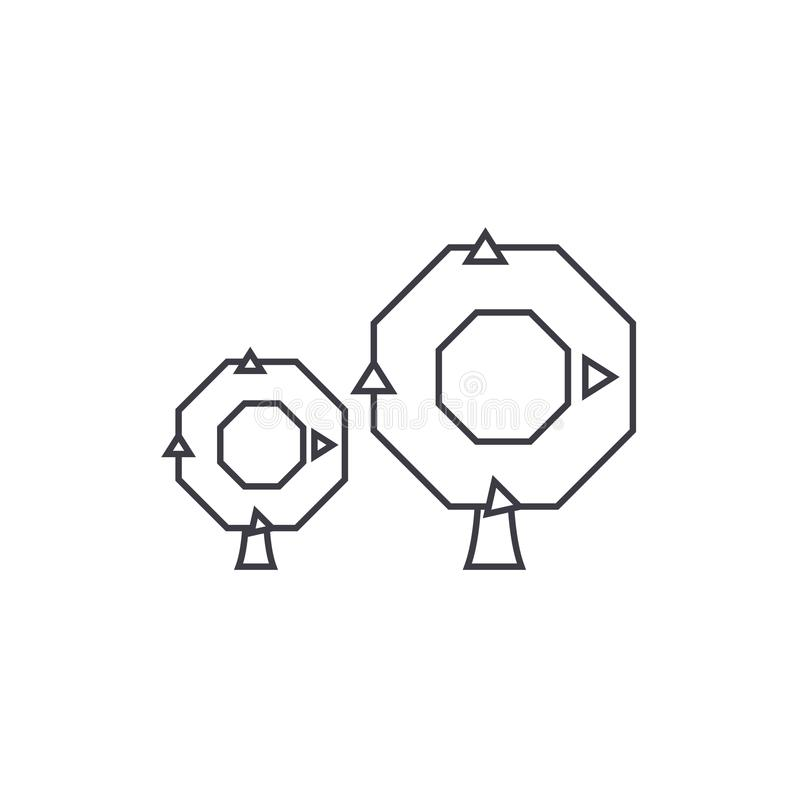 Eiken het pictogramconcept van de boom dun lijn Eiken boom lineair vectorteken, symbool, illustratie royalty-vrije illustratie