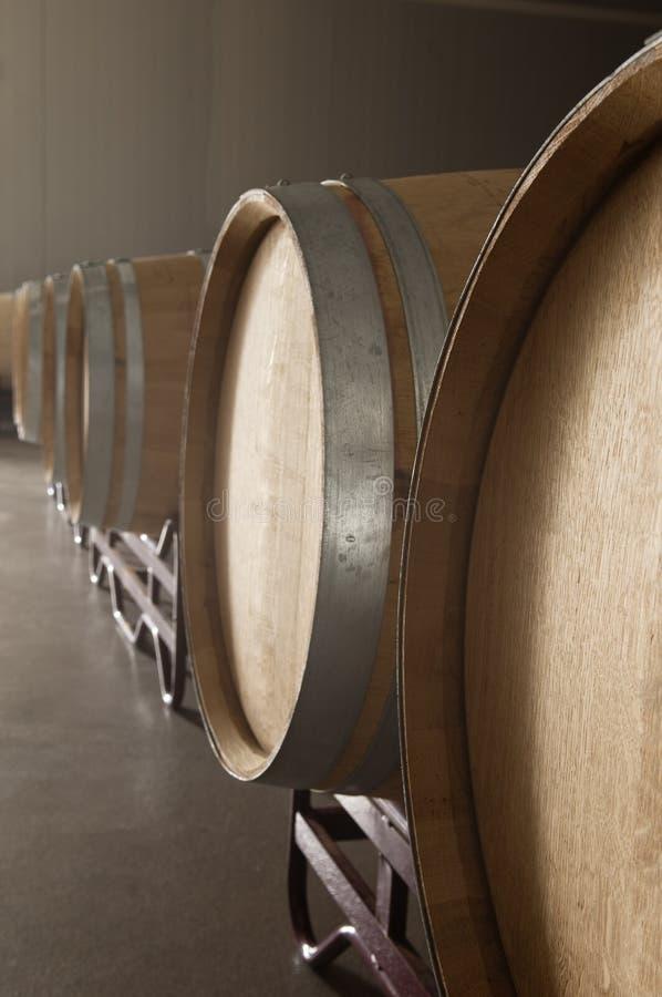 Eiken vaten in een wijnmakerij royalty-vrije stock afbeelding