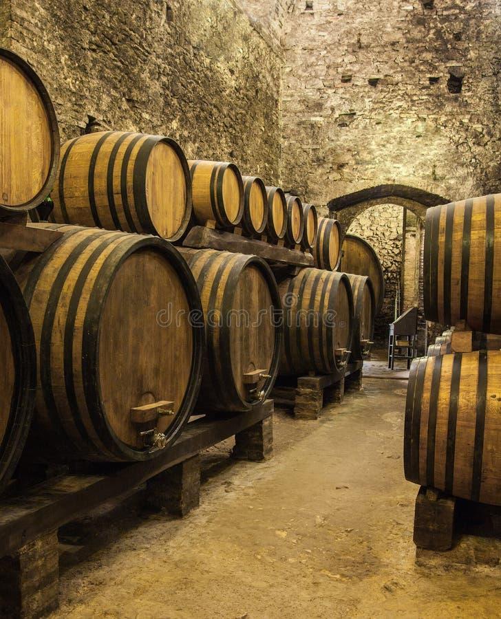 Eiken vaten met wijn bij de kelder royalty-vrije stock afbeelding