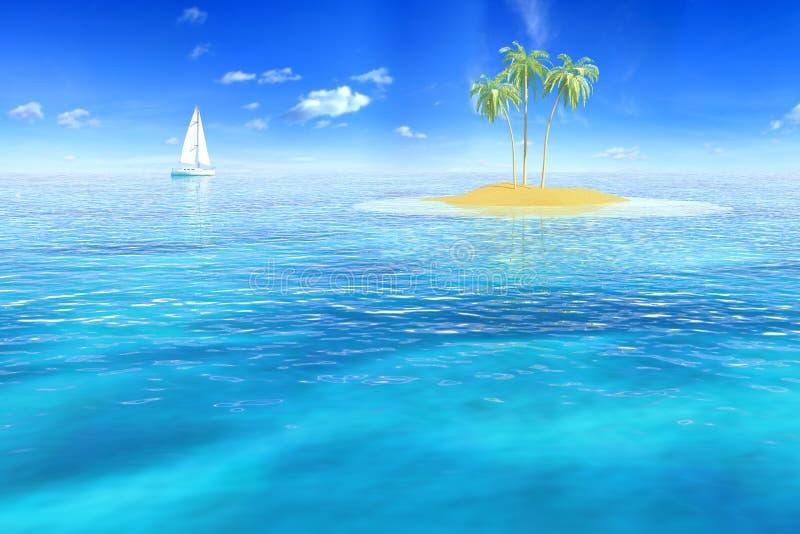 Eiland bij oceaan stock illustratie