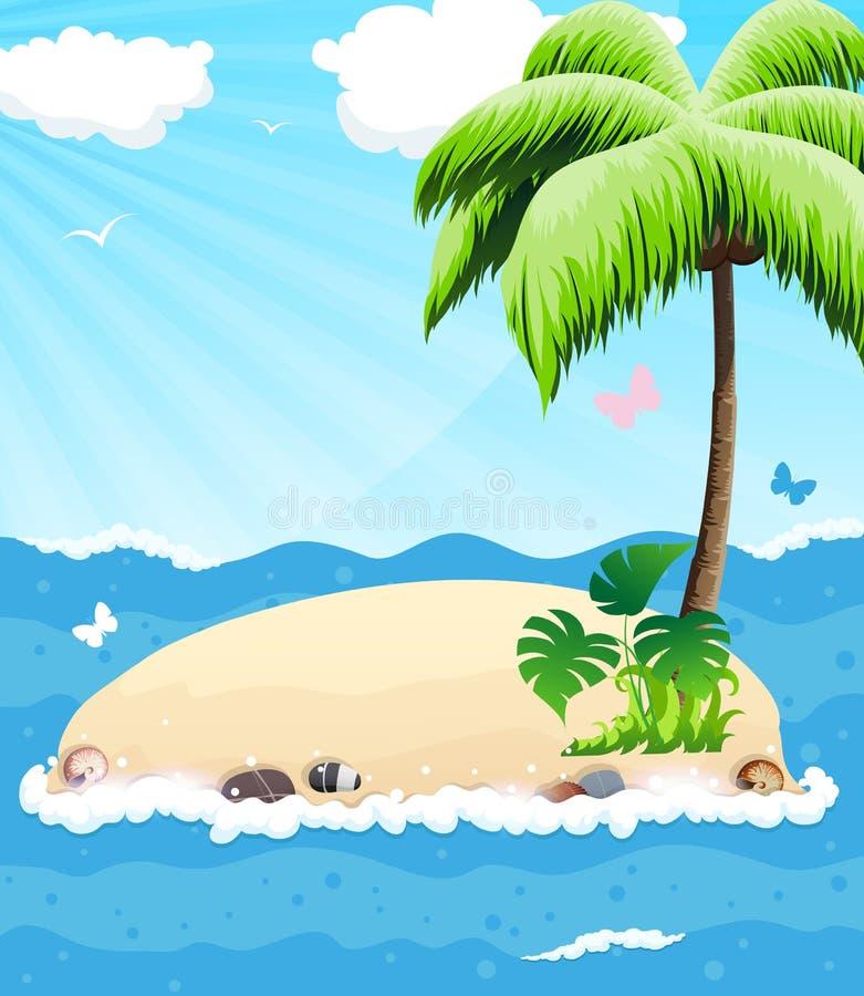 Eiland in de Oceaan royalty-vrije illustratie
