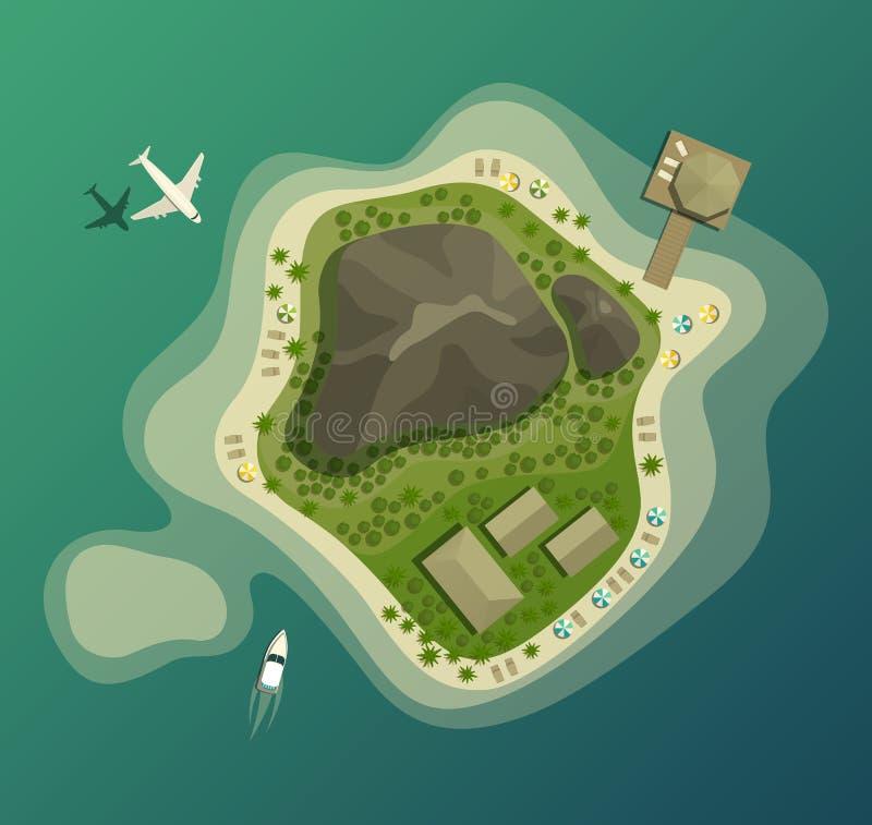 Eiland of eiland met strand en berg hoogste mening stock illustratie