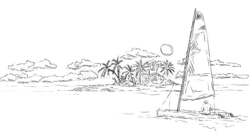 Eiland en catamaran stock illustratie