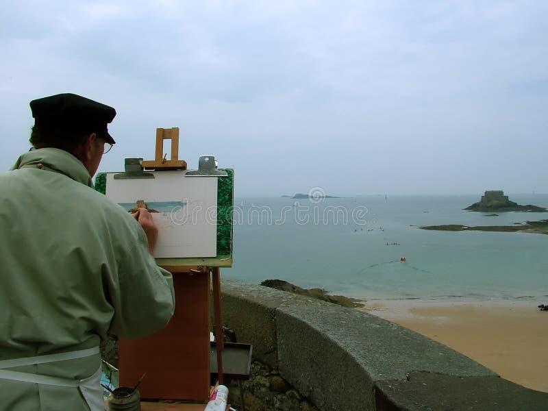 Eiland en kunstenaar royalty-vrije stock afbeeldingen