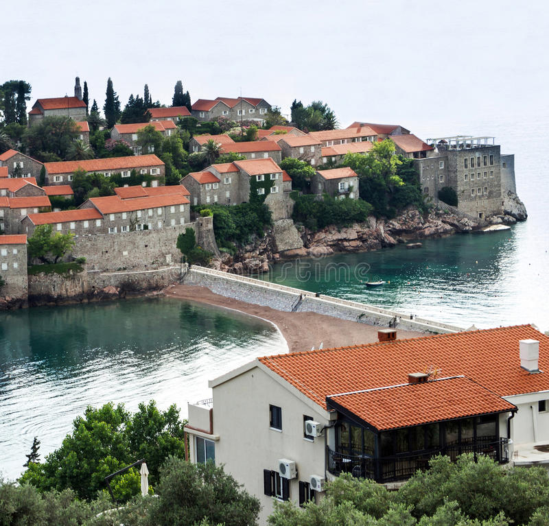 Eiland Heilige Stephen, Budva, Adriatische overzees, Montenegro royalty-vrije stock foto