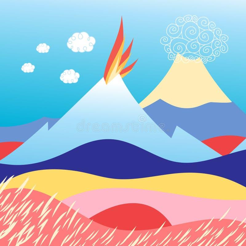 Eiland in het overzees met vulkaan royalty-vrije illustratie