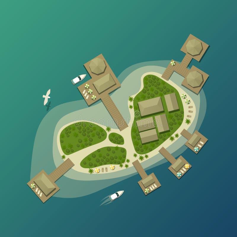 Eiland hoogste mening met toeristenstrand en paraplu vector illustratie