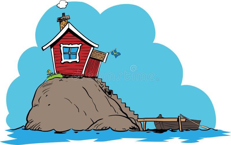 Eiland klein Zweeds huis stock illustratie
