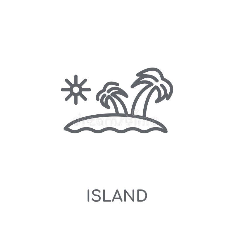 Eiland lineair pictogram Modern het embleemconcept van het overzichtseiland op wit stock illustratie