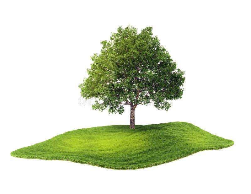 Eiland met boom die in de lucht drijven stock illustratie