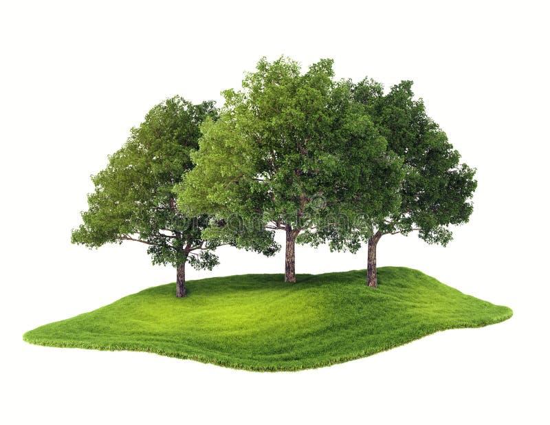 Eiland met bos dat in de lucht drijft stock illustratie