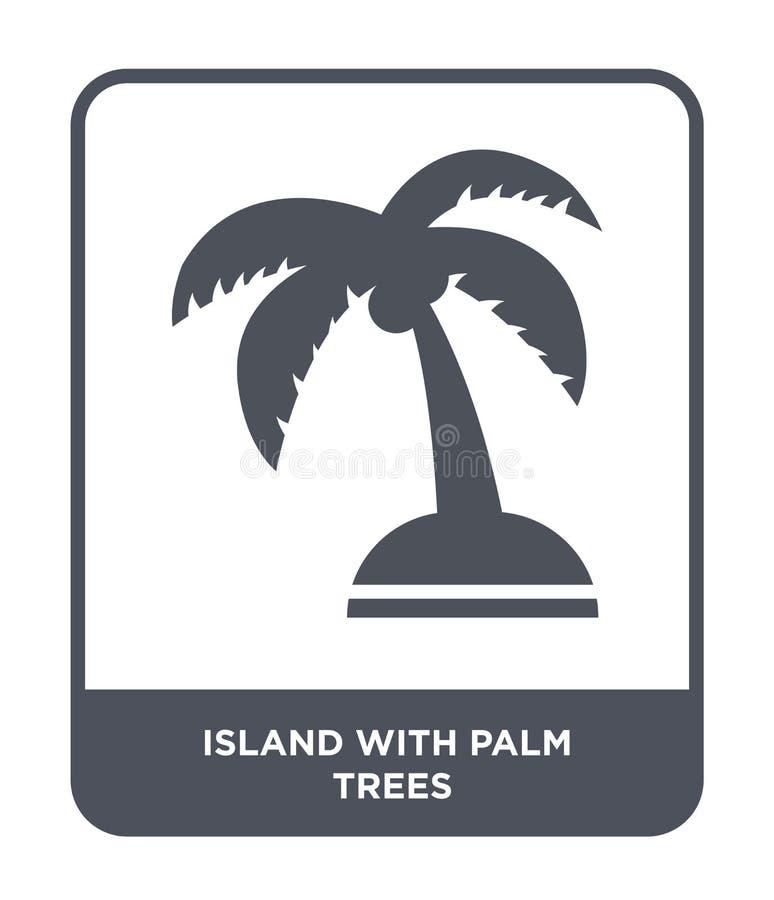 eiland met palmenpictogram in in ontwerpstijl eiland met palmenpictogram op witte achtergrond wordt geïsoleerd die Eiland met pal stock illustratie