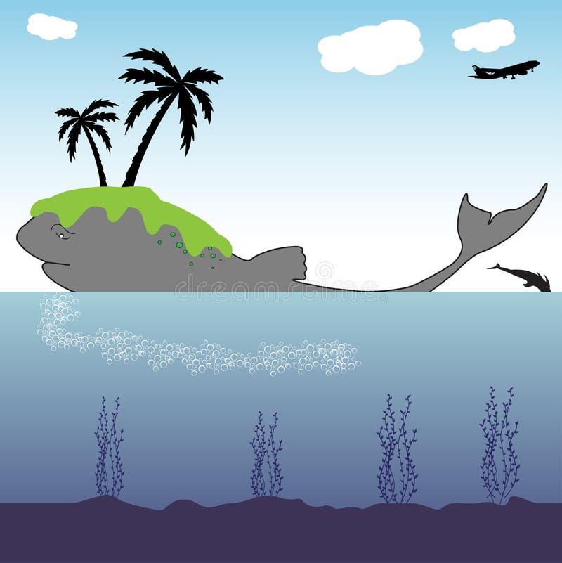 Eiland op een walvis royalty-vrije illustratie