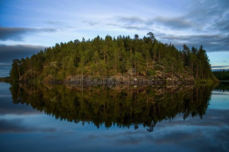 Eiland op meer stock afbeelding