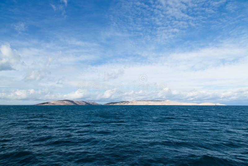Eiland Pag in het Adriatische overzees stock fotografie