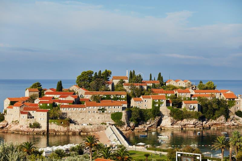 Eiland Sveti Stefan - Montenegro royalty-vrije stock foto