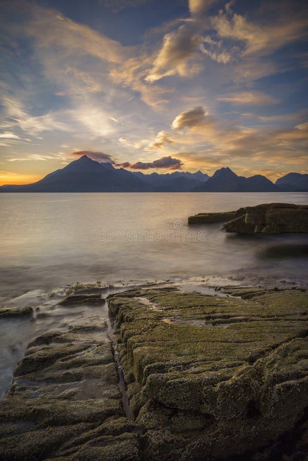 Eiland van Skye-zonsondergang stock fotografie