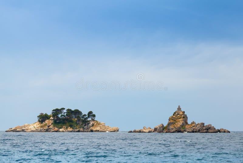 Eilanden in Adriatische Overzees, Montenegro stock foto