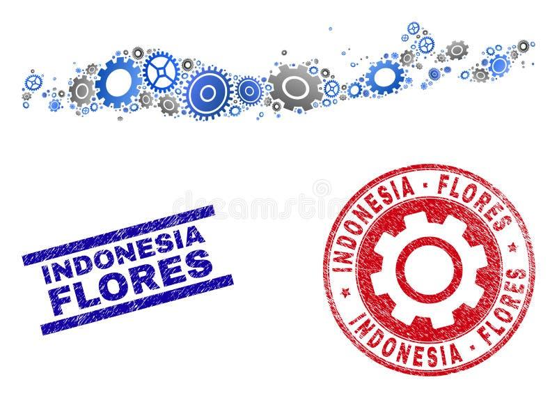 Eilanden van Flores van de workshopcollage de Vector van van Indonesië de Kaart en van Grunge Zegels royalty-vrije illustratie