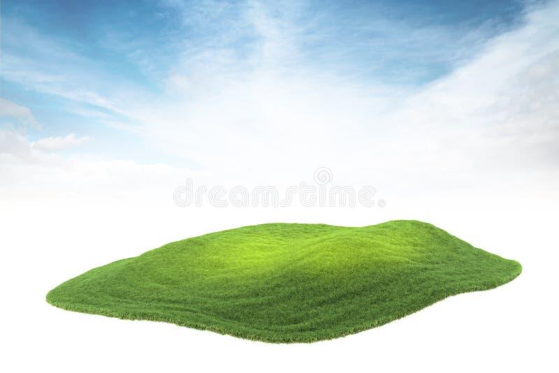 Eilandlap grond of eiland die in de lucht op hemel drijven backgr royalty-vrije stock foto