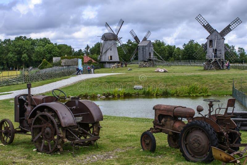 Eilandsaaremaa, Estland, Europa, de molens van angla stock foto