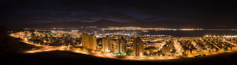 eilat以色列晚上全景 库存图片