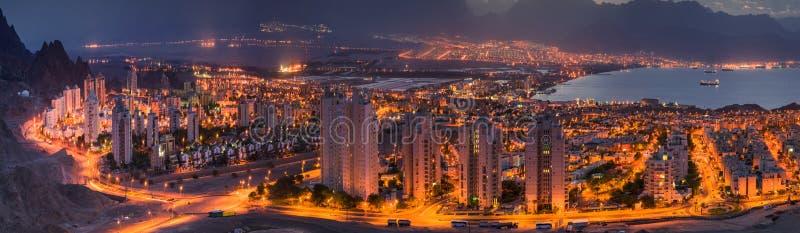 Eilat和亚喀巴全景 免版税图库摄影