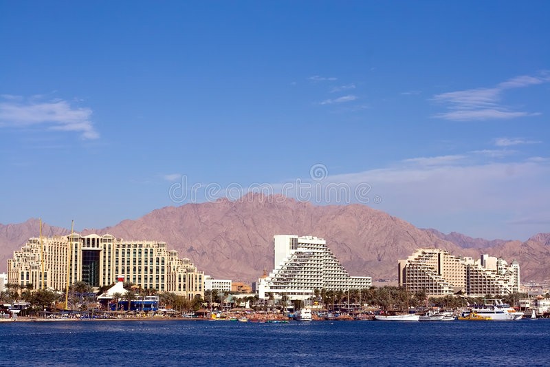 Eilat. Is Israel's southernmost city, a busy port as well as a popular resort, located at the northern tip of the Red Sea, on the Gulf of stock image