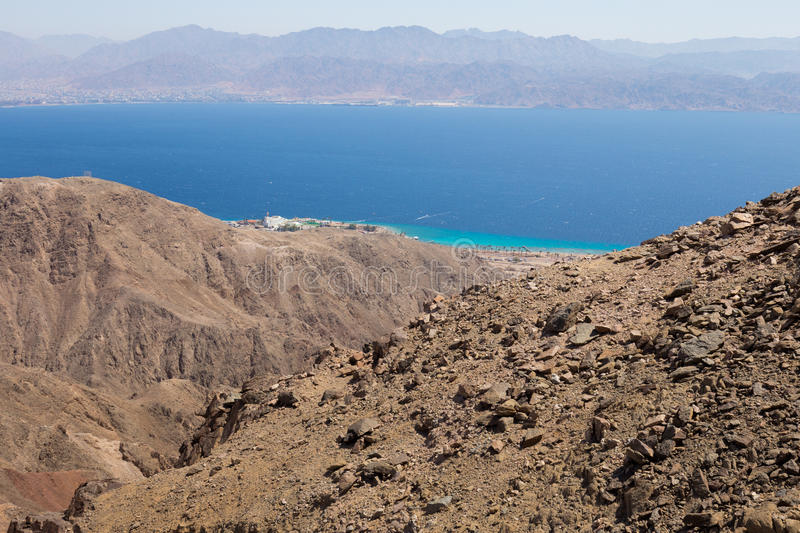 Eilat and Aqaba cities mountains and Red sea view. Red sea mountains and Eilat city view, Israel royalty free stock photography