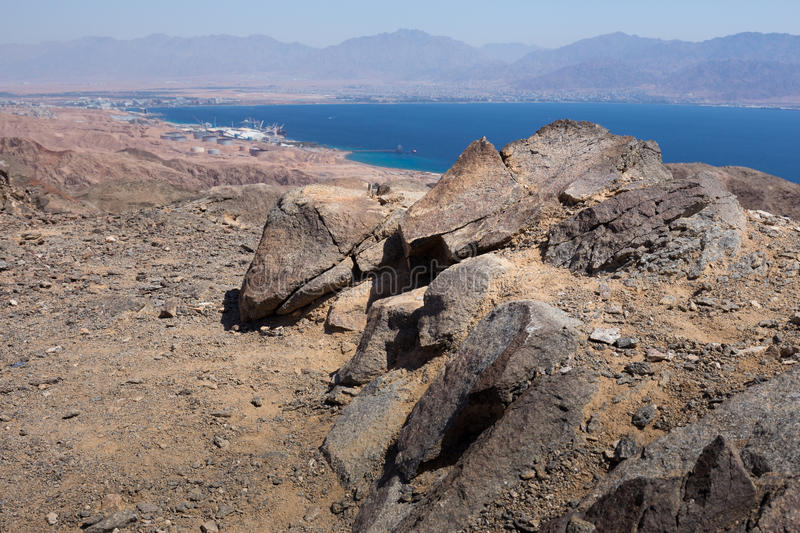 Eilat and Aqaba city mountains and Red sea view. Red sea mountains, Eilat and Aqaba cities, Eilat harbor seaport view, Israel stock photos