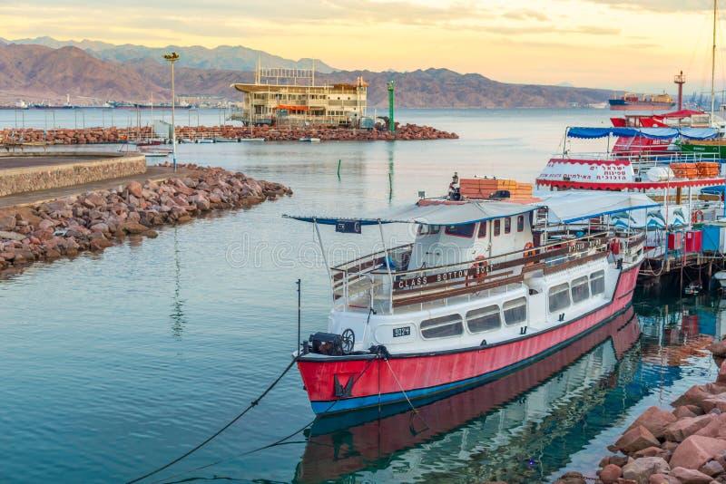 Eilat bay. Boat on calm water, Eilat, Israel stock photos