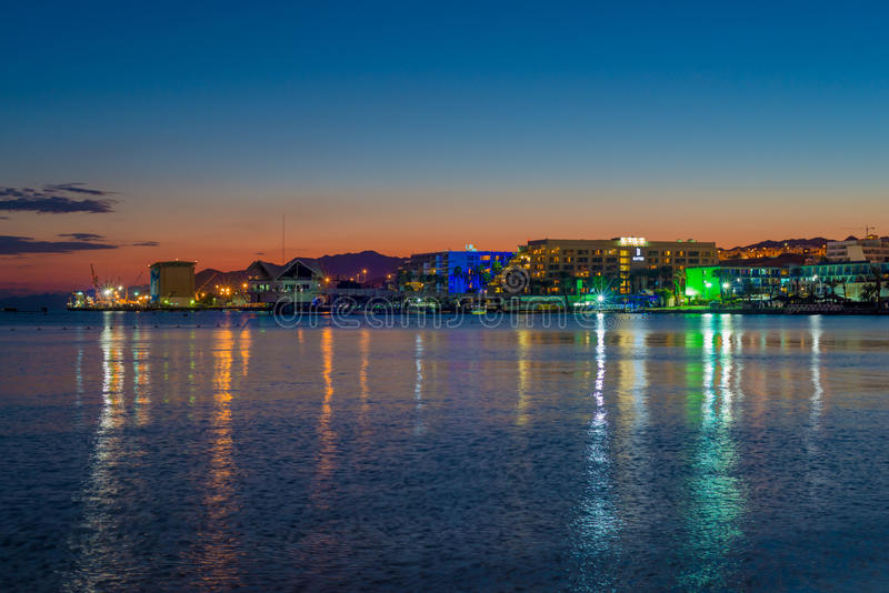 Eilat Bay dusk. Red sea sunset, Eilat, Israel royalty free stock image