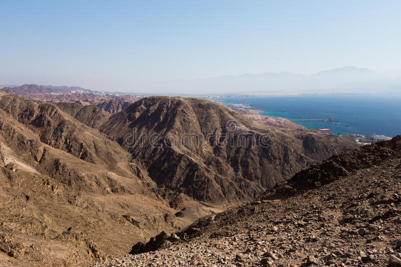 Eilat city mountains and Red sea view. Red sea mountains and Eilat city view, Israel royalty free stock photo