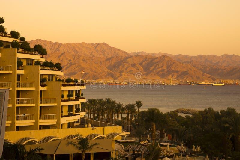 Eilat e Aqaba no por do sol fotografia de stock