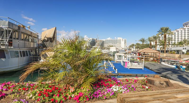 Eilat, Israel - January 15, 2018: Central promenade in Eilat. Eilat is a famous resort city in the Middle East. Here there are many shopping centers located on royalty free stock photos