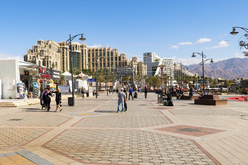 Eilat, Israel - January 15, 2018: Central promenade in Eilat. Eilat is a famous resort city in the Middle East. Here there are many shopping centers located on royalty free stock photo