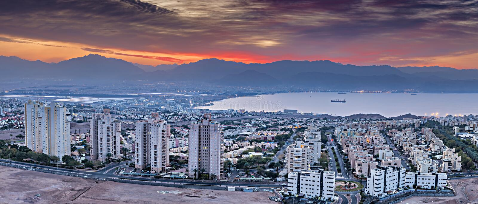 Colorful aerial scenic view on Eilat Israel and Aqaba Jordan cities royalty free stock images