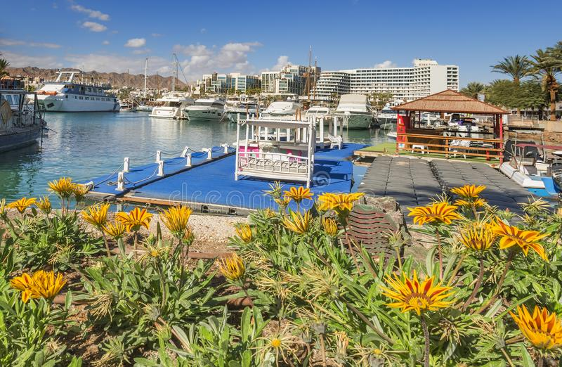 Central marine and piers with boats and yachts in Eilat. Eilat is a famous resort and recreational city in the Middle East stock photo