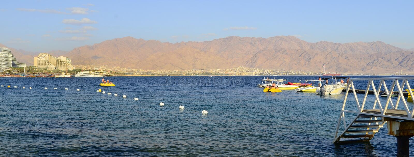 EILAT, ISRAEL - APRIL 11, 2011. Central public beach in Eilat - famous resort city in Israel stock photos