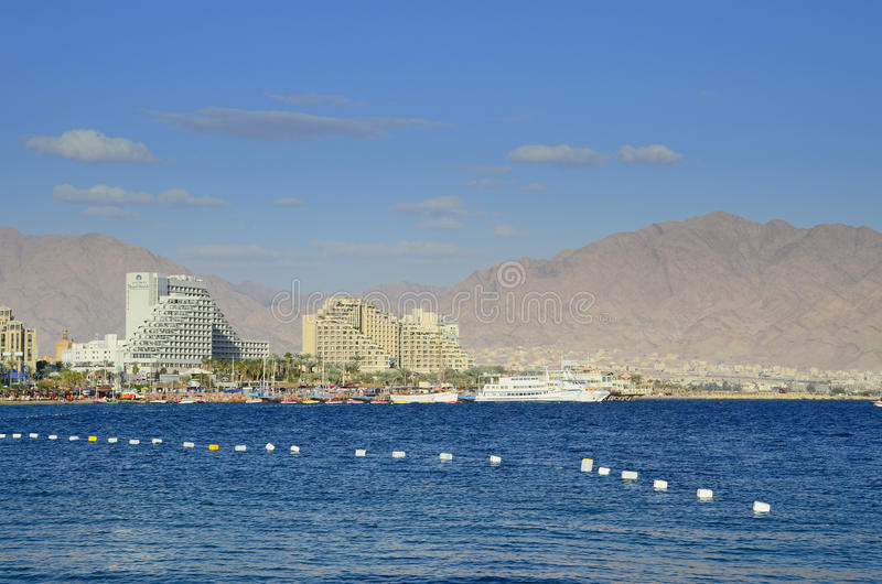 EILAT, ISRAEL - APRIL 11, 2011. Central public beach in Eilat - famous resort city in Israel royalty free stock photos