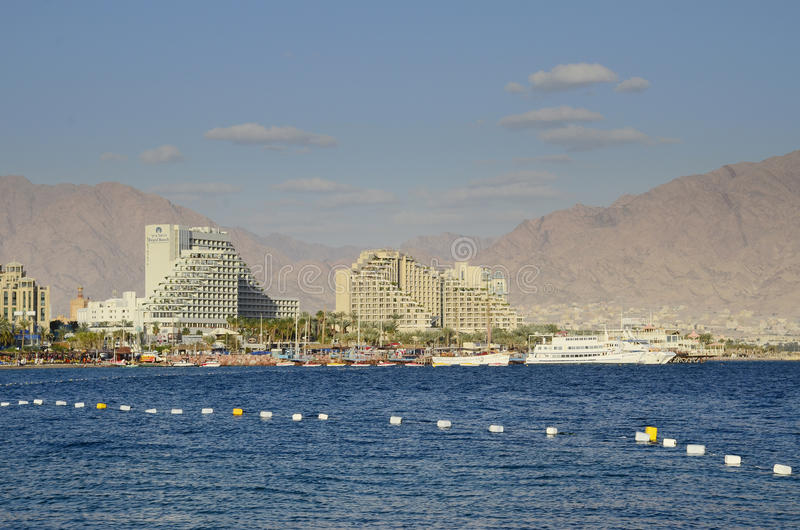 EILAT, ISRAEL - APRIL 11, 2011. Central public beach in Eilat - famous resort city in Israel stock image