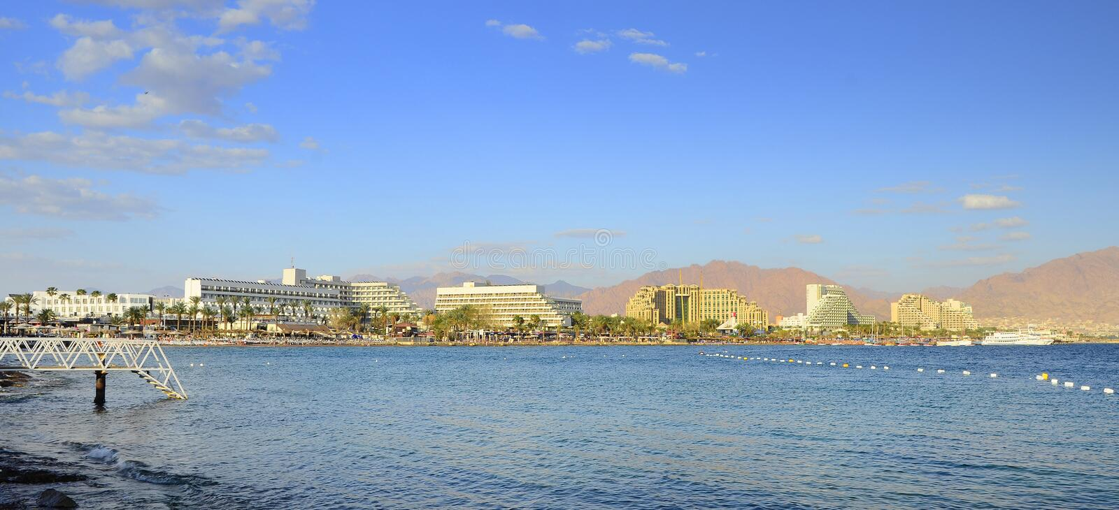 EILAT, ISRAEL - APRIL 11, 2011. Central public beach in Eilat - famous resort city in Israel royalty free stock image